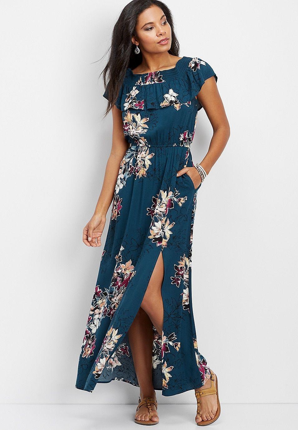 23ebfb4bc5e Floral off the shoulder maxi dress