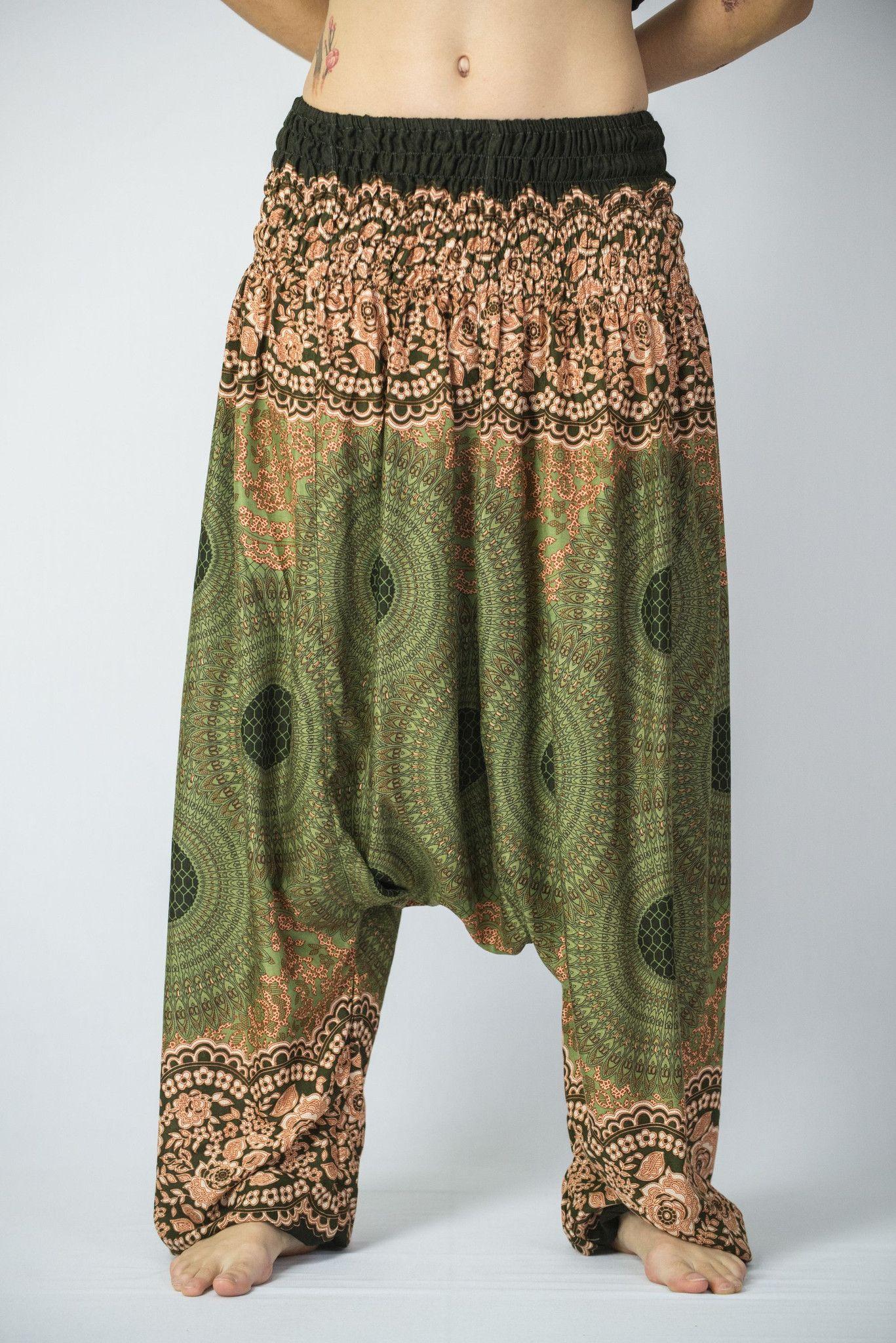 71c2f8af9 Geometric Mandalas Low Cut Women s Harem Pants in Olive