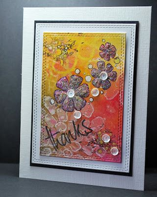 handmade thank you card from Eileen's Crafty Zone ... framed look ... gorgeous mixed media ... wth stitched edges die cuts ...