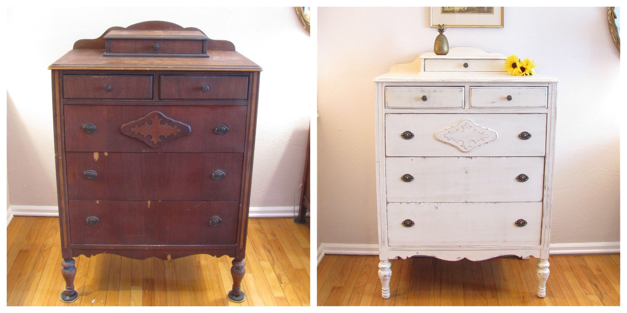 Tall Vintage Dresser Painted With Old White Chalk Paint By Annie Sloan Vintage Dressers White Chalk Paint Dresser