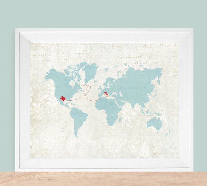 Vintage map world map gift custom world map custom map gift long world map customized love heart map 12x18 silhouette art print features any colors and countries gumiabroncs Images