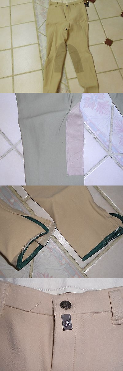 Jodhpurs and Breeches 16242: New Ladies Devon Aire Cool Cotton Knee Patch Breeches/ Beige And Khaki BUY IT NOW ONLY: $34.95