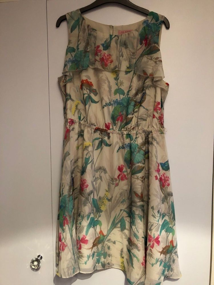 e486ad8782 Ted Baker Timoxa Printed Ruffle Bird & Floral Pattern Dress- Size 14 / TB 4  #fashion #clothing #shoes #accessories #womensclothing #dresses (ebay link)