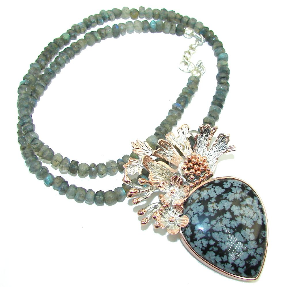 $89.95 Touch+Of+Life!+Black+Obsidian+&+labradorite,+Two+Tones+Sterling+Silver+necklace at www.SilverRushStyle.com #necklace #handmade #jewelry #silver #blackobsidian