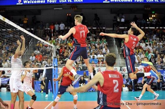 Max Holt Matt Anderson And Aaron Russell Worlds Vs Iran With Images Usa Volleyball Team Mens Volleyball Usa Volleyball