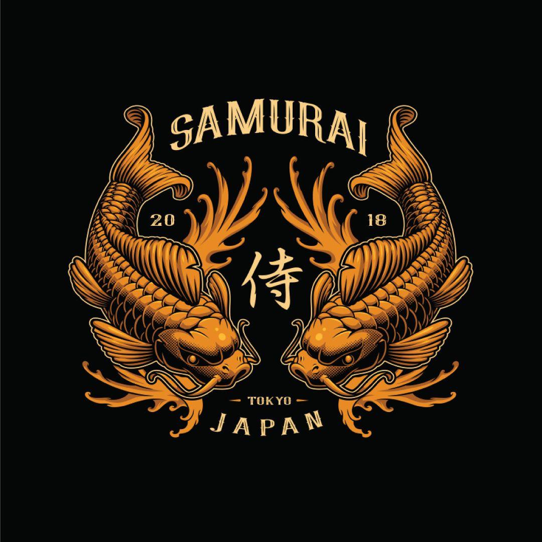 Japan Fish Top Detailed Logo Badge Cartoon Illustration Best Trending Design Inspiration By Harry Kasyanov Logo Hewan Seni Jepang Menggambar Dengan Tangan