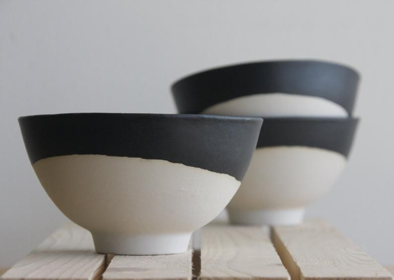 Ceramic Bowl In White With Black Matte Glaze.Great For