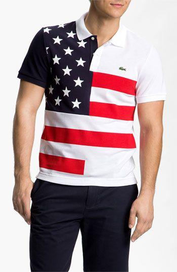 LacosteMens Anonymous Piqué Lacoste Flag' 'usa PoloFashion j54R3AL
