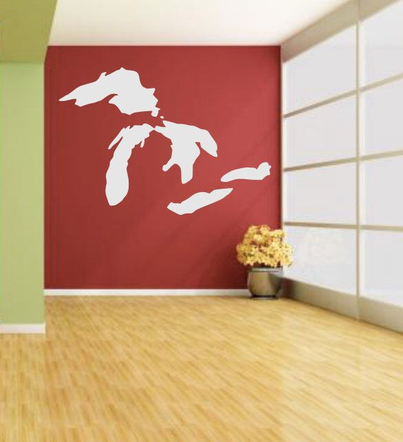 Great Lakes Decal Large Wall Art Home Decor Michigan Decal Travel Wanderlust Explore Gift Idea Living Large Wall Art Michigan Decal Home Decor