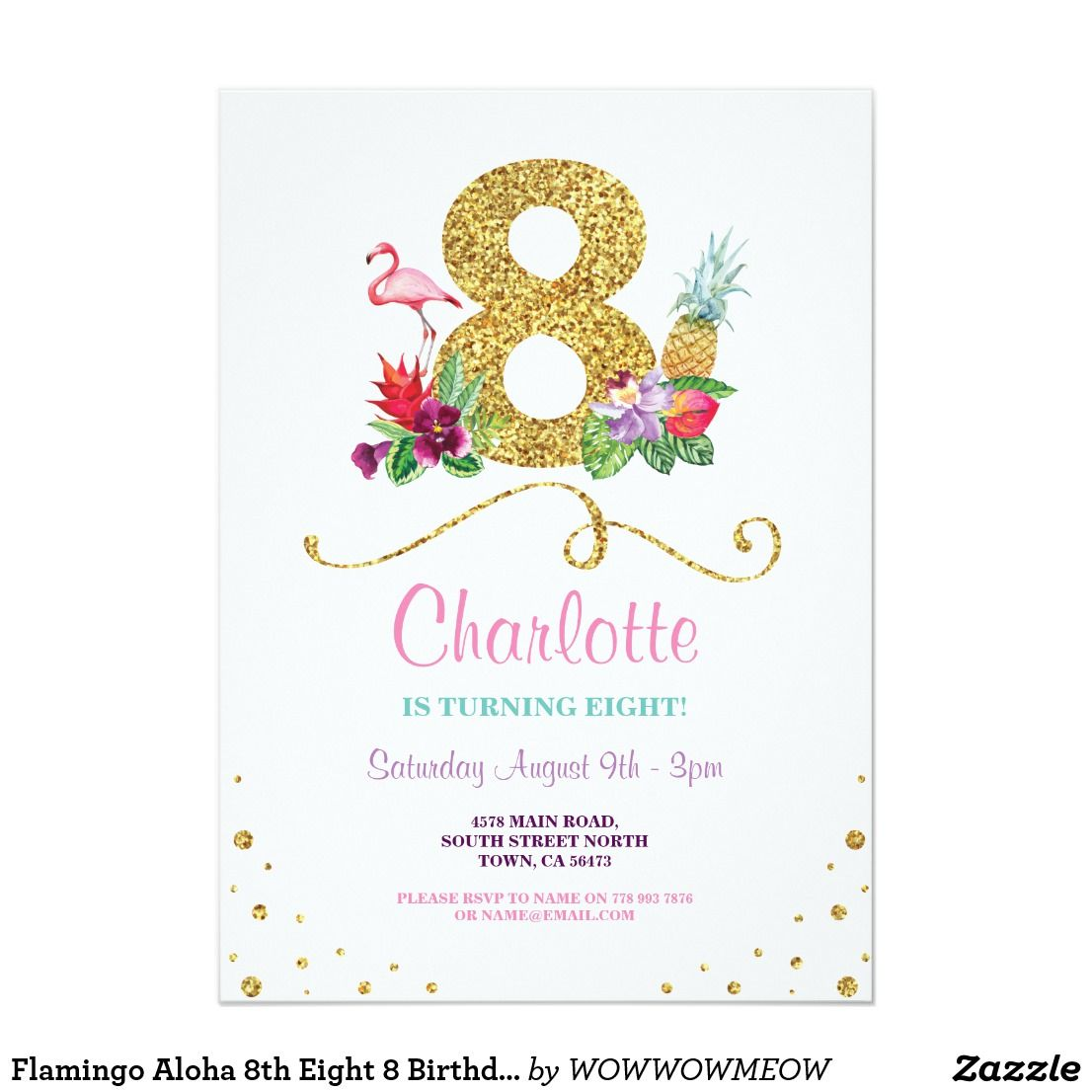 Flamingo aloha 8th eight 8 birthday party invite happy birthday flamingo aloha 8th eight 8 birthday party invite flamingo 8th birthday party bright invite change the text to suit your party back print included filmwisefo