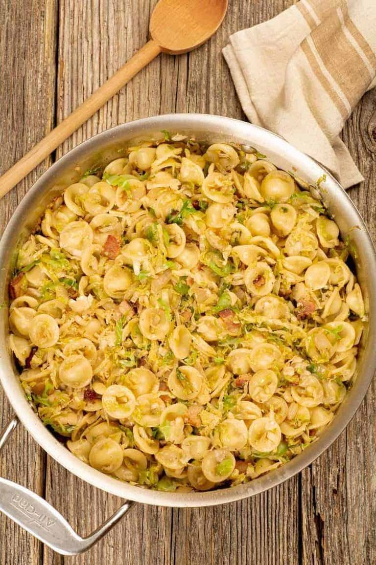 Orecchiette With Brussels Sprouts and Bacon - Pasta and Potatoes -