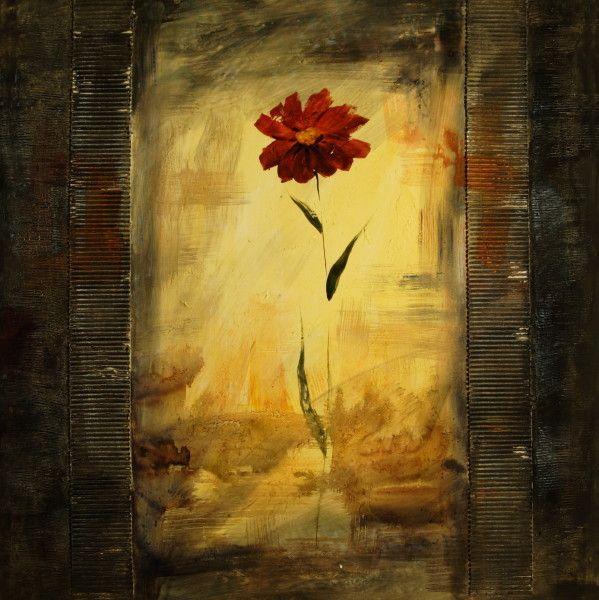 ... modernos, cuadros de flores y plantas, Flor roja sobre fondo negro