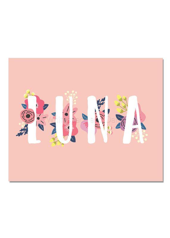 Luna Baby Name Wall Art Luna Baby Name Sign Luna Party Printable