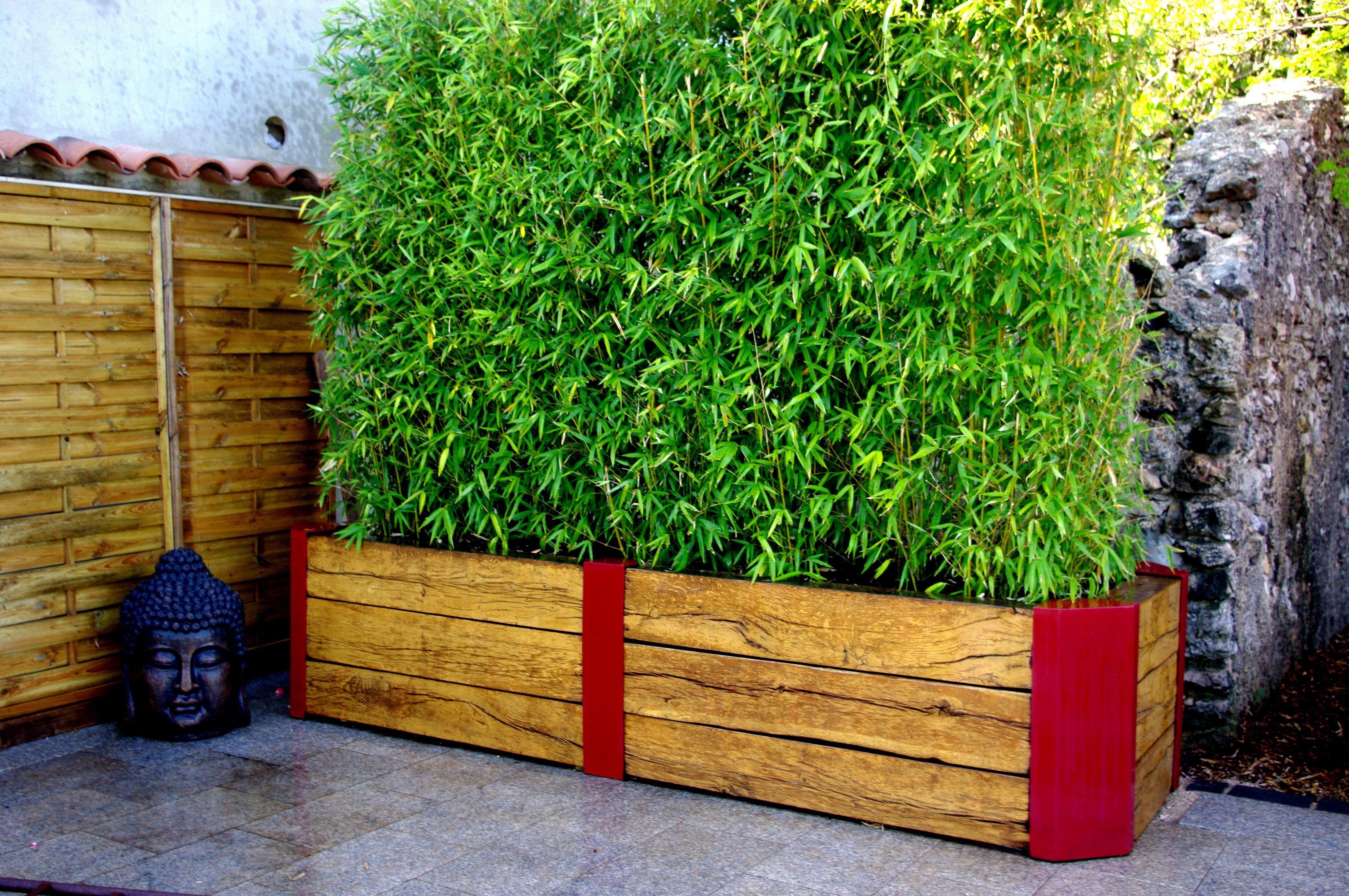 bac bois et métal terrasse balcon bambou | bac en bois et métal