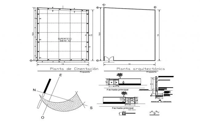 Residential house elevation section and foundation plan details with column dwg file