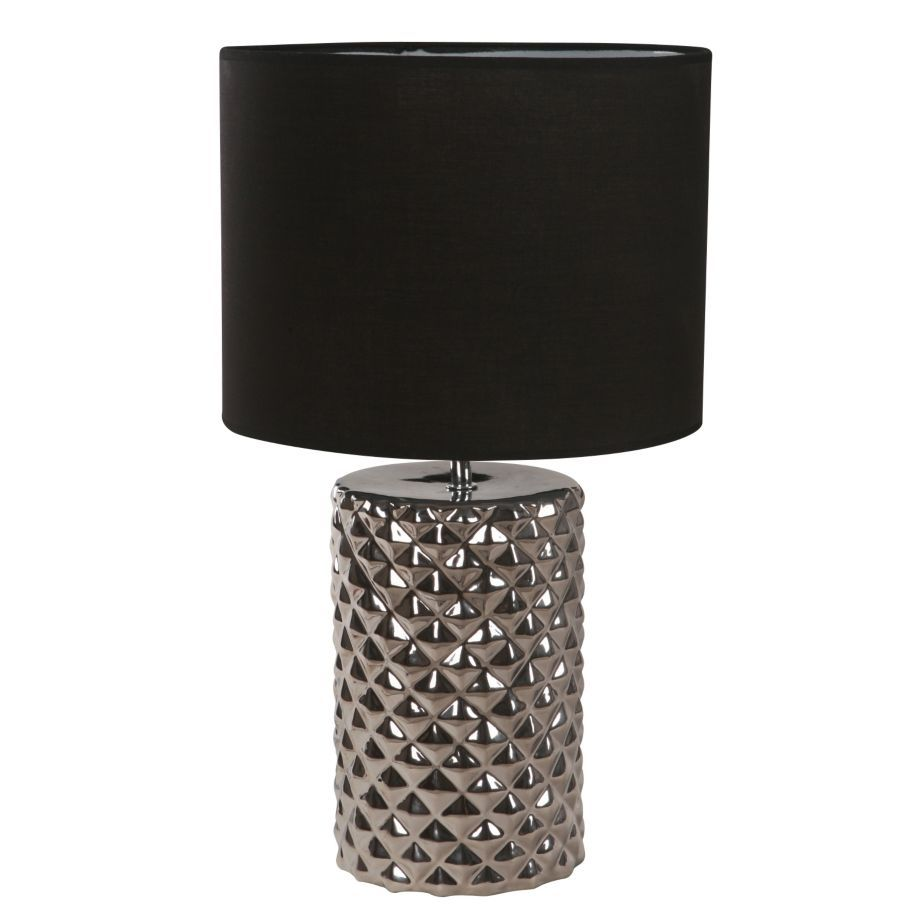 SM Lámpara de mesa una luz metal Pantalla de Tela cerámica E27 ...