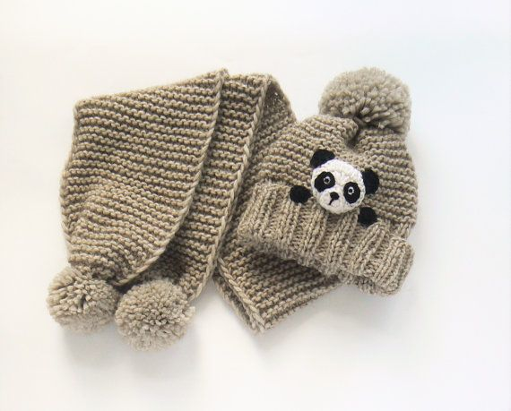 Winter hat and Scarf, Kids Outfit, Panda Hat, Knit Hat, Matching Outfit, Winter Accessories, Knit Scarf, Pom Pom Hat, Knit Beanie, Cute Hat #beanies