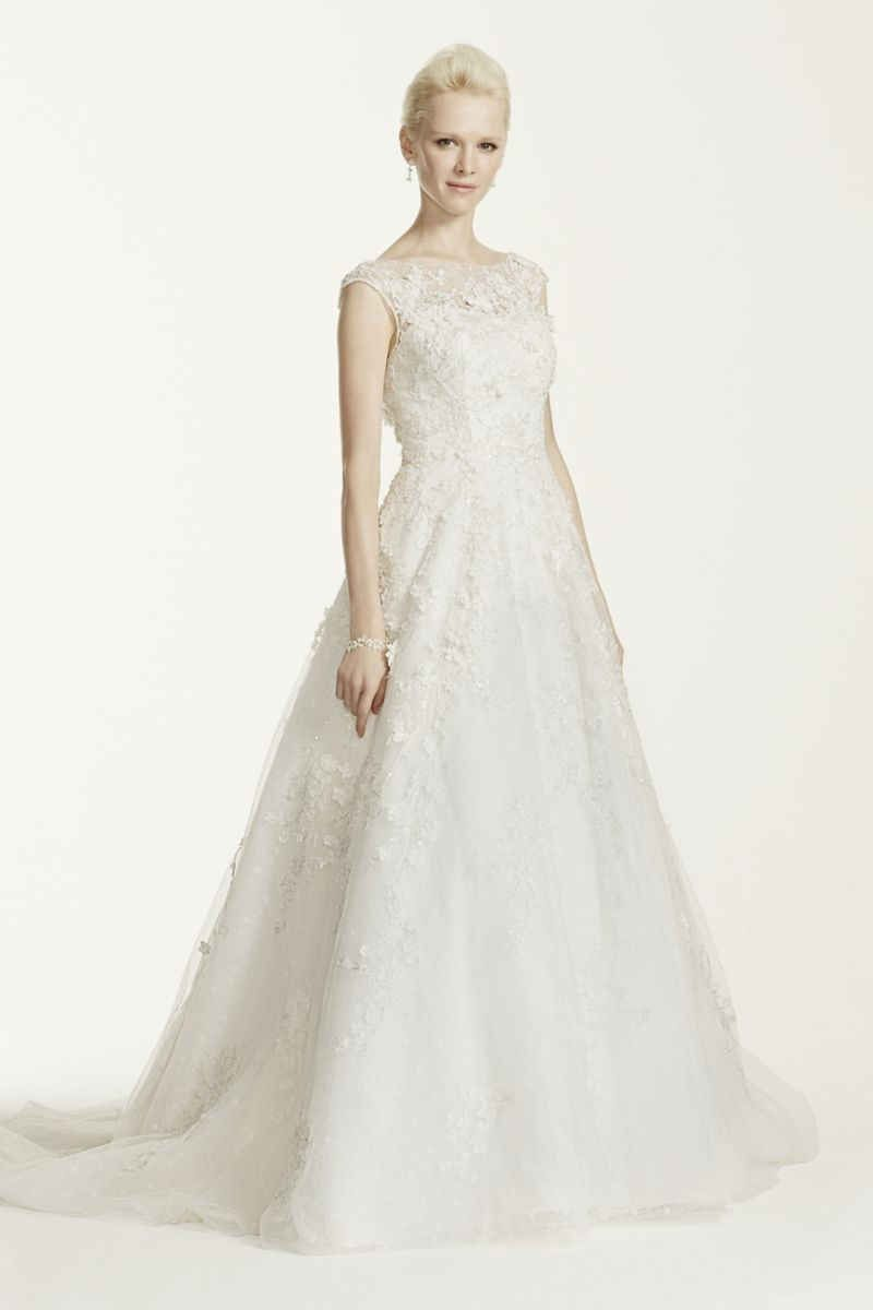 Oleg Cassini Wedding Dress With Flowers And Lace Style Cwg659