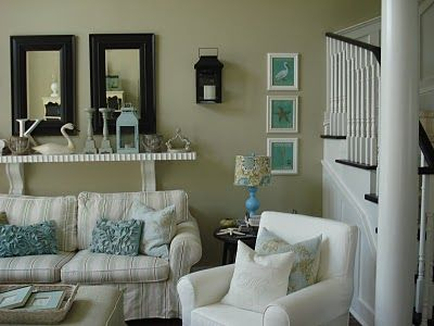Living Room Just Beachy Neutrals Tan White Black Cream