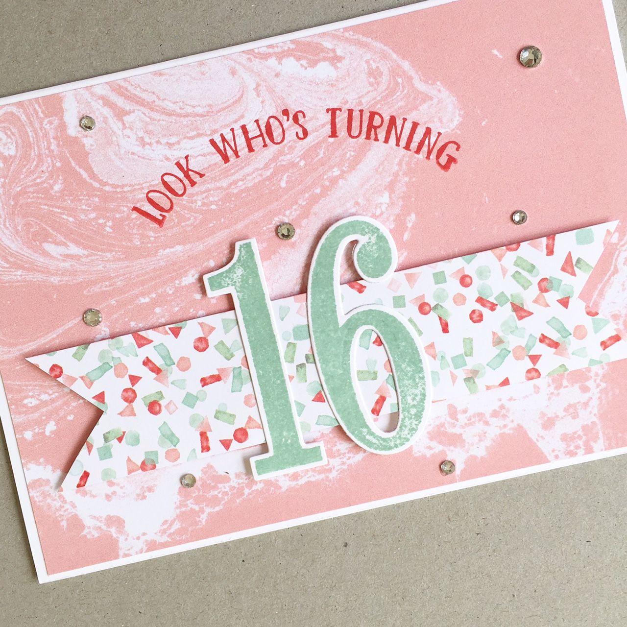 Sweet 16 Card Making Ideas Part - 16: 16th Birthday Card #handmade #card #cardmaking #cardclasses #sydney  #forsale #