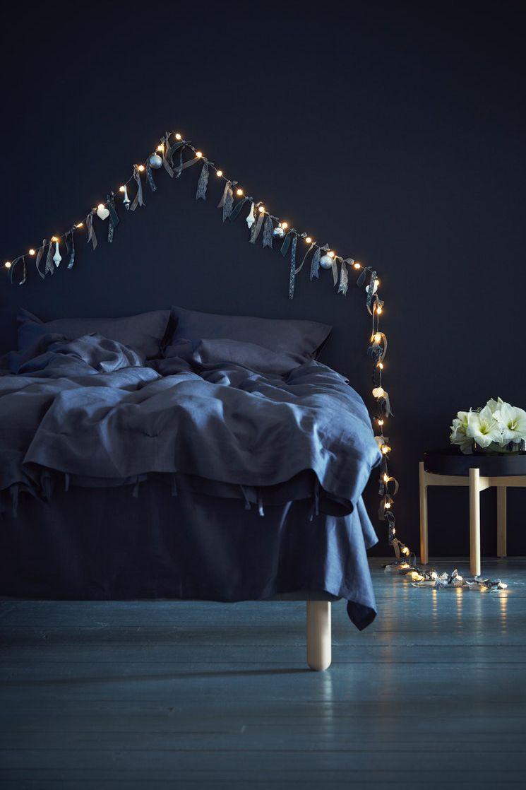 Photo of Schlafzimmer für die Festtage dekorieren, SNÖYRA Lichterkette