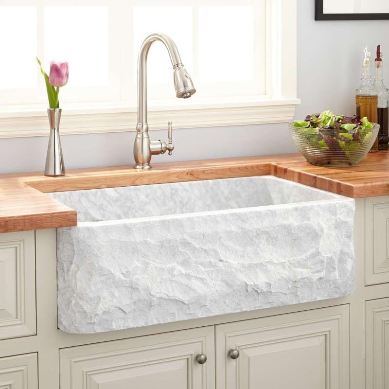 Signature Hardware 254169 Carrara Marble 33 Farmhouse Single Basin Marble Kitchen Sink Farmhouse Sink Kitchen Marble Sink