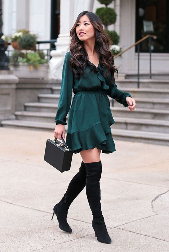 24a60a94 green dress with ruffle and otk boots - cute Christmas outfit idea
