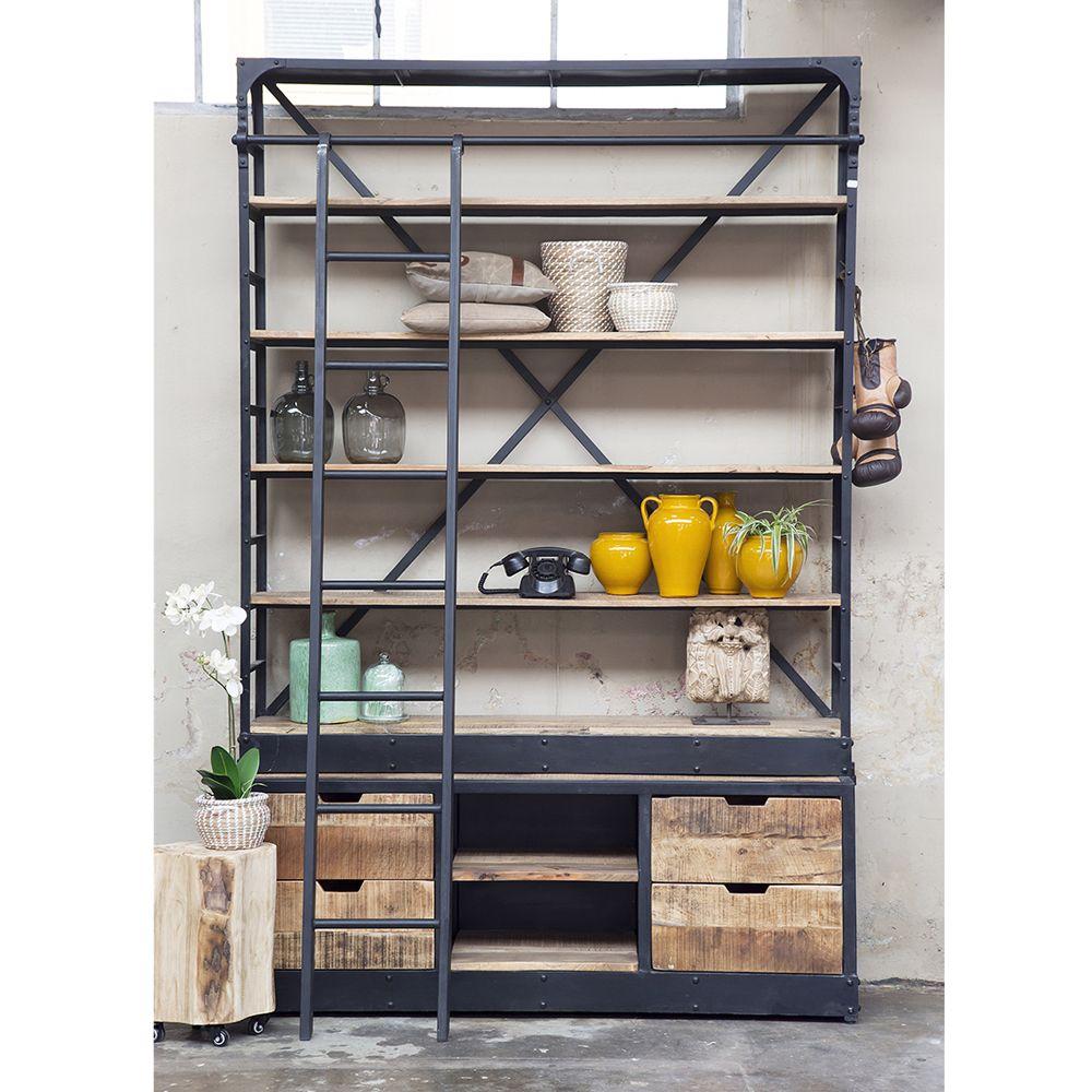 vintage bibliothek schrank b 163 cm mit leiter b cherregal ablageregal regal m bel industry. Black Bedroom Furniture Sets. Home Design Ideas