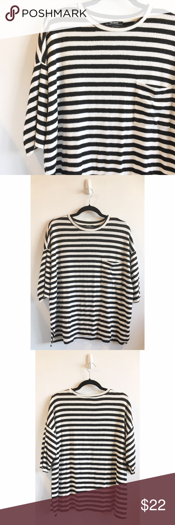 efb23bb7fd Zara Black & White Striped Fuzzy T-Shirt - Zara Trafaluc fuzzy striped t- shirt - Soft and fuzzy black & white striped fabric - Oversized fit with  single ...
