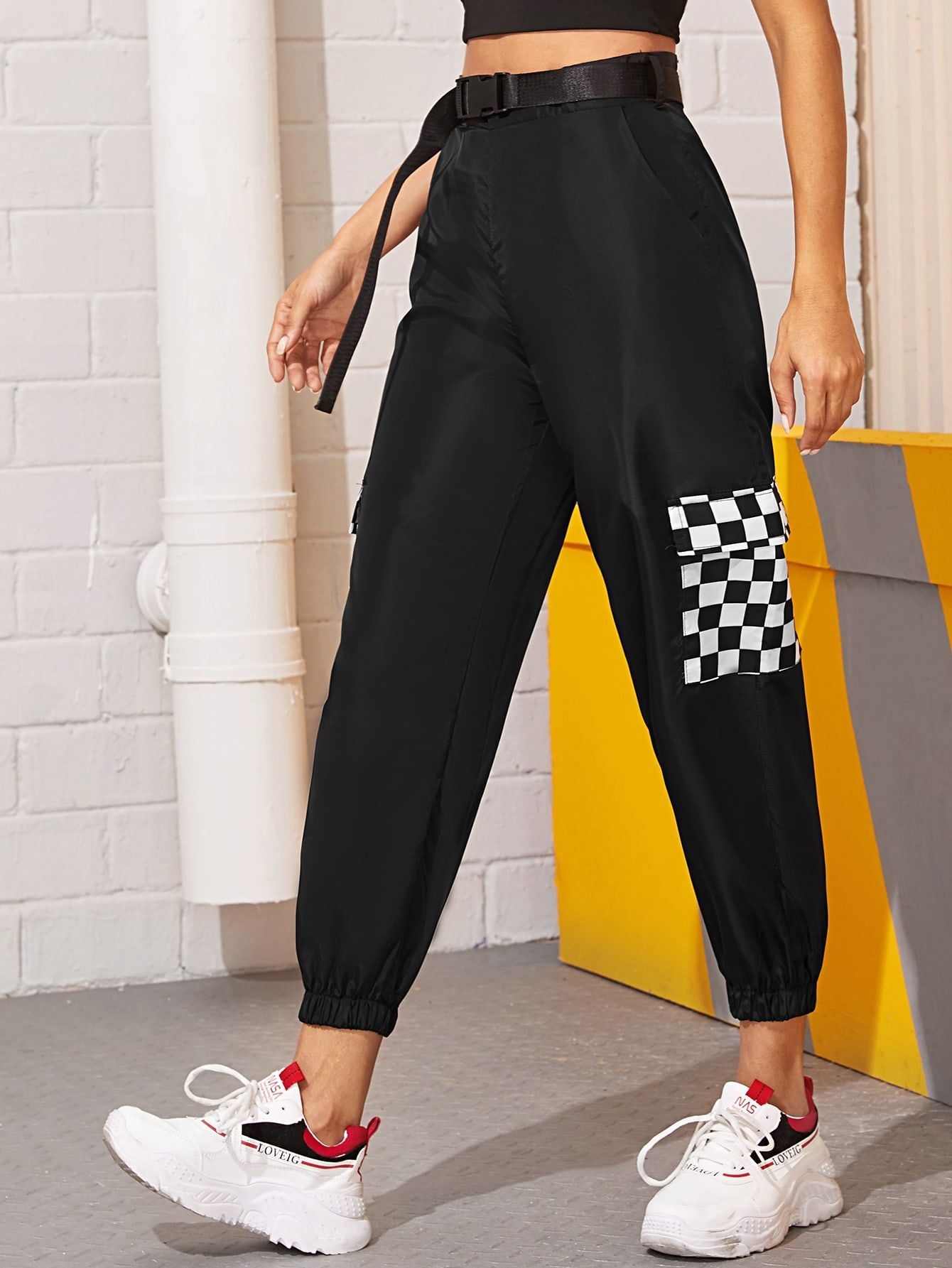 Ad Contrast Pocket Belted Cargo Pants Tags Casual Black Plaid Belted Pocket Cropped Cargo Pants Spring Summer Fall Cargo Pants Bottom Clothes Pants
