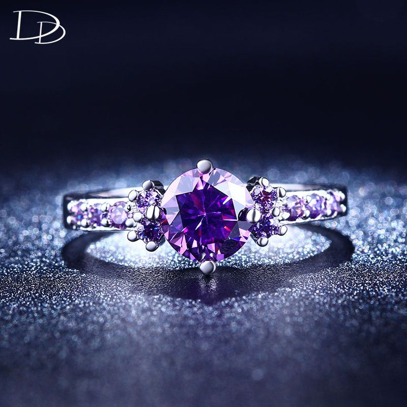 Dudee Unique Green//Pink//White//Purple//Blue Ring cubic zirconia engagement rings