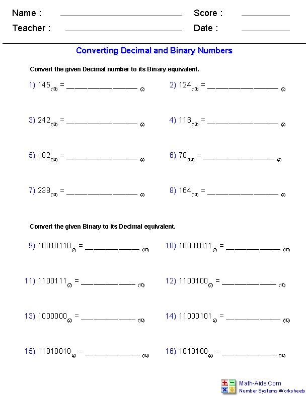 Number Systems Worksheets Dynamically Created Number Systems Worksheets Number System Worksheets Number System Decimals Worksheets