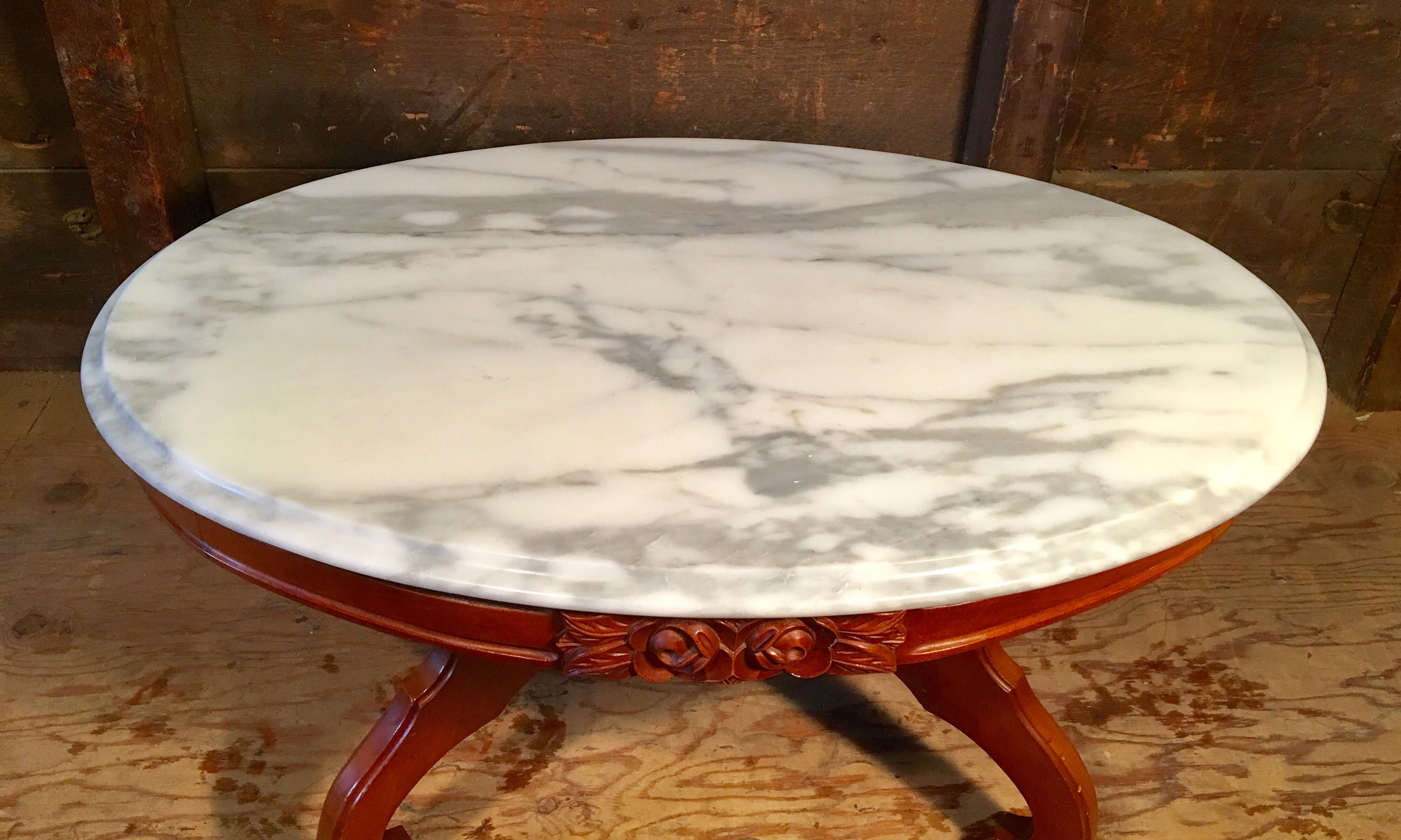 Victorian Style Marble Top Coffee Table