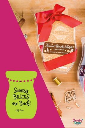 Scentsy Bricks are Back!! But only for a limited time, and while supplies last. Choose from 6 delicious Holiday fragrances to bring home the Holidays!  Come and Join our FREE VIP Group where you will receive tips, tricks, samples, promotions and so much more!  www.smarterscents.net/vip