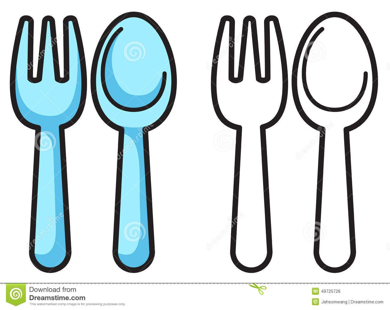 Spoon Coloring 2 Download Drawings Spoon Drawing Fork Coloring Books