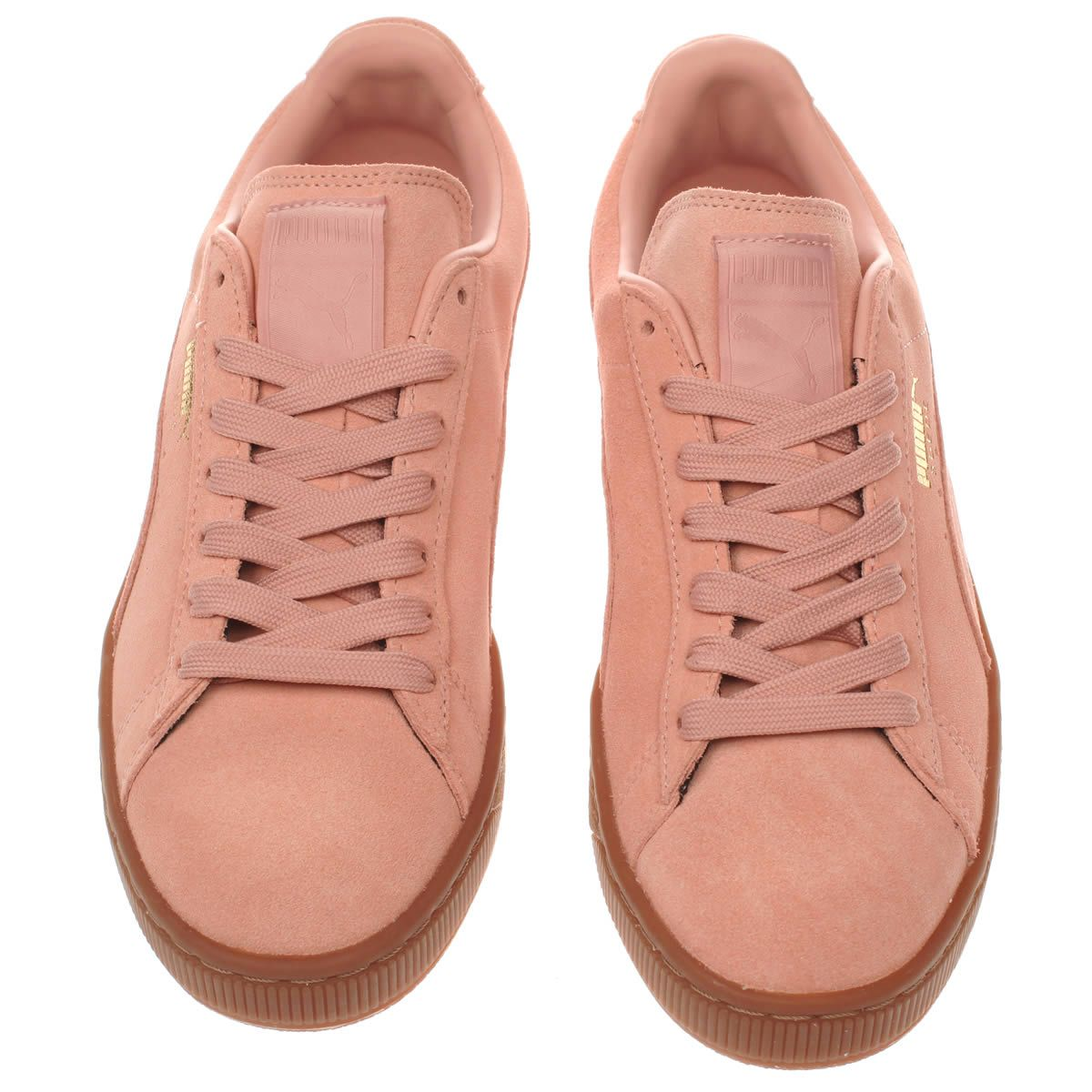 womens puma pale pink suede gum trainers