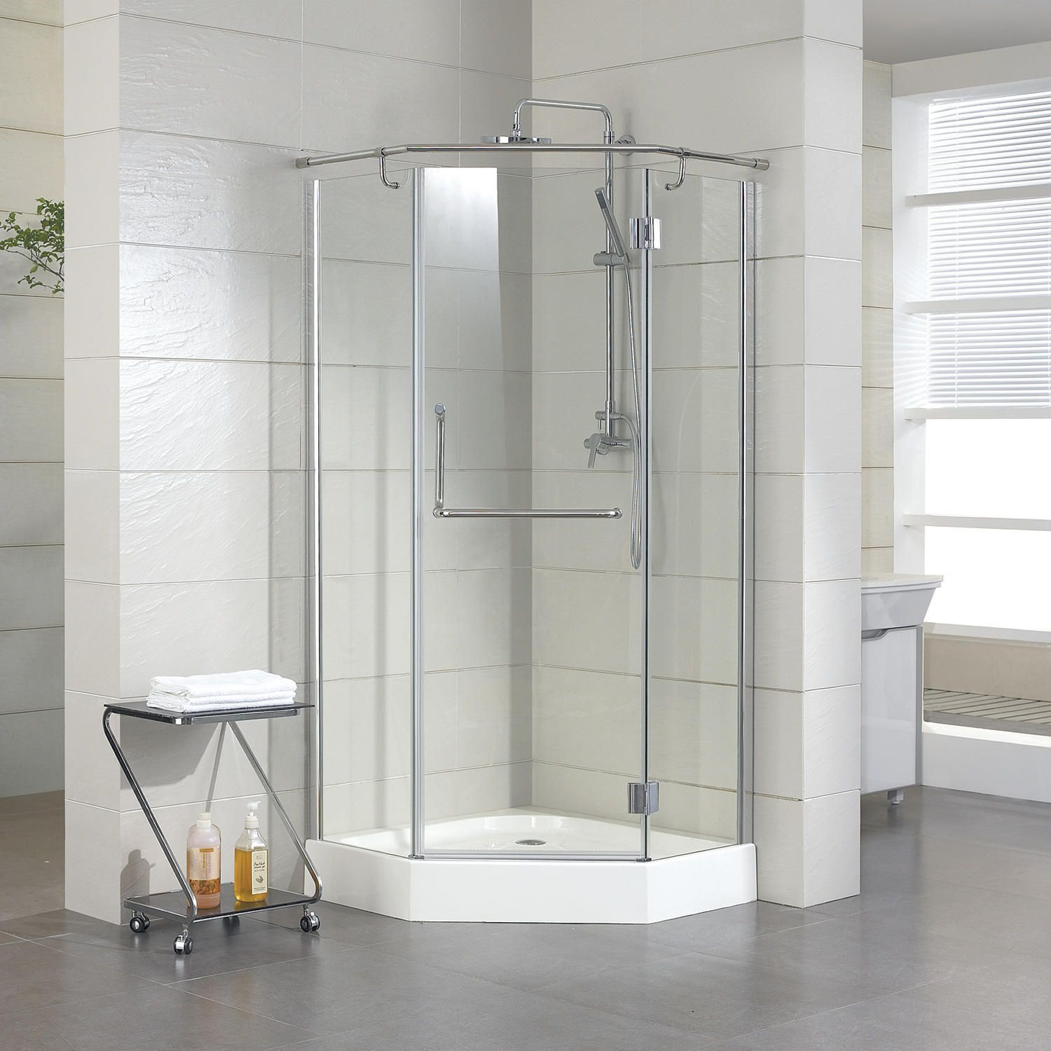 36 X 36 Alver Neo Angle Shower Enclosure With Tray Right Hand Door Polished Aluminum Neo Angle Shower Doors Neo Angle Shower Neo Angle Shower Enclosures