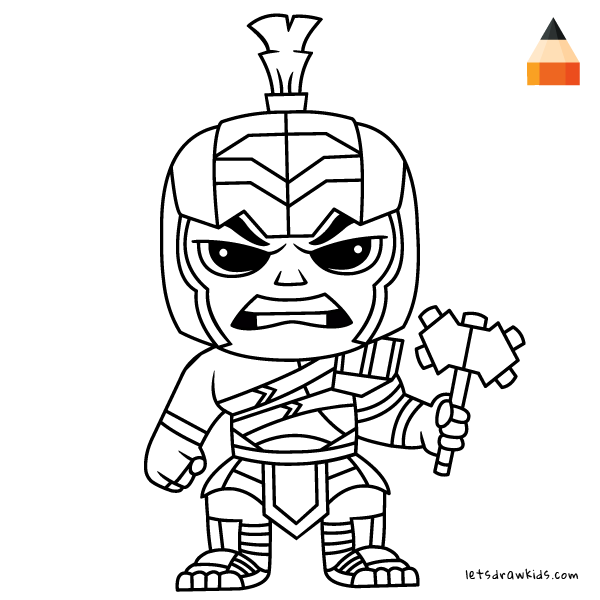 Coloring Page For Kids How To Draw Hulk Gladiator Chibi In