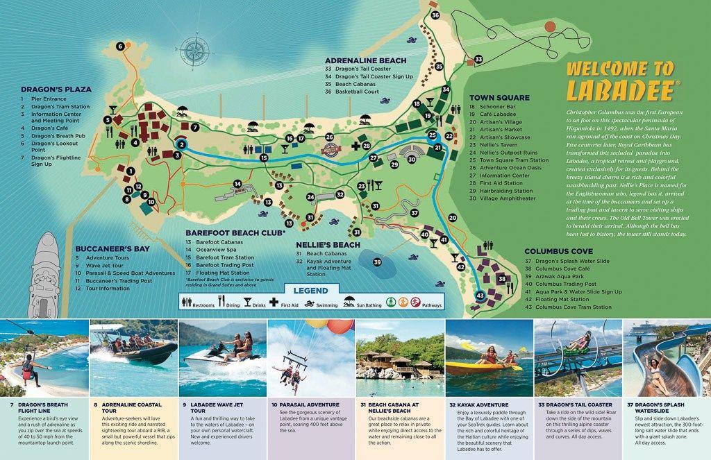 Mapa De Labadee Fornecido Pela Royal Caribbean Cruise Planning Royal Caribbean Cruise Labadee Haiti