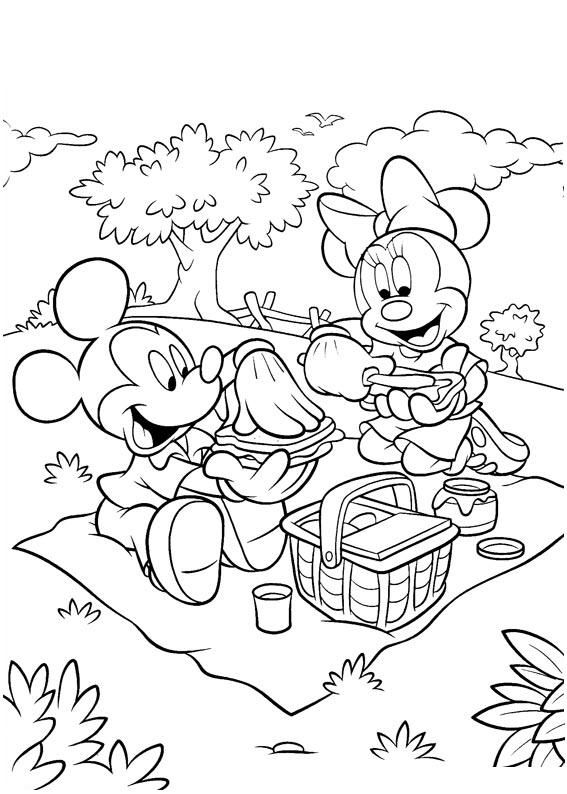 Mickey and Minnie having a picnic | Coloring Pages | Pinterest ...