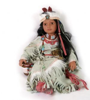Native American Doll in White #indianbeddoll