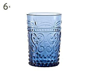 6 verres eau provenzale bleu 25cl deco pinterest for Moquette bleu canard