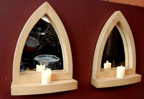 Pair of Gothic Arch Wooden Pine Wall Mirror Shelf 35 5 cm Long Hand Made | eBay