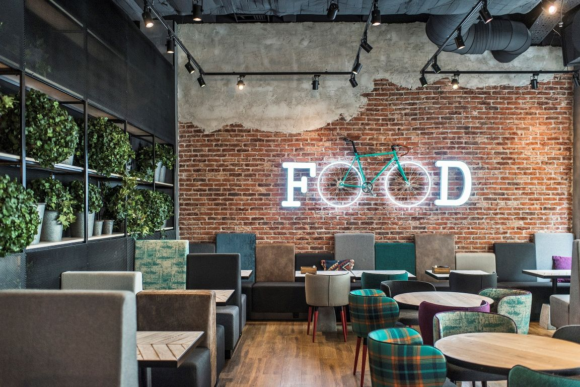 Ladrillo decorativo restaurante con efecto de lucido y bicicleta ...