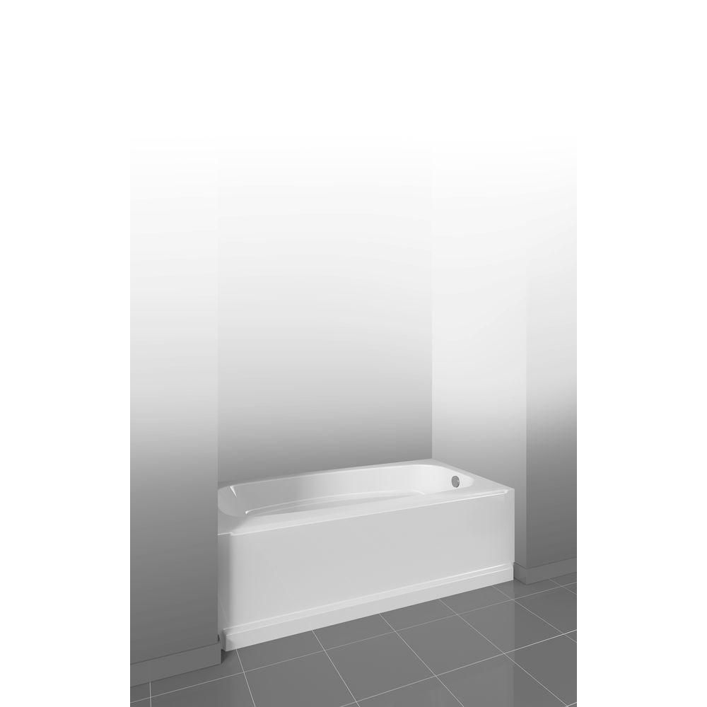 Delta Clic 400 5 Ft Right Hand Drain Soaking Tub In High Gloss White 40034r The Home Depot