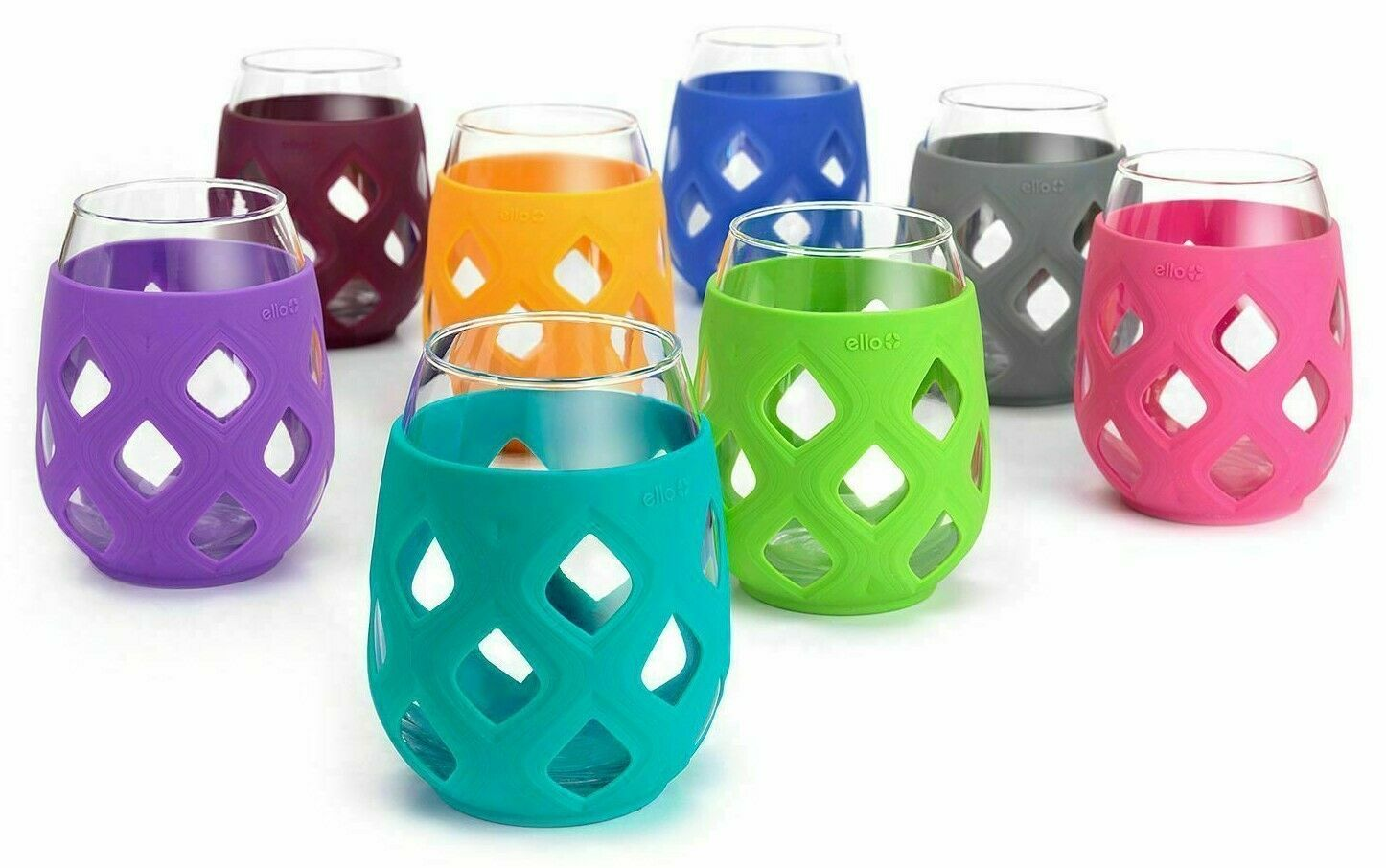 Lifefactory 17oz Wine Glass 4 Pack w// Silicone Sleeves New HOL/'18 Multi-Color