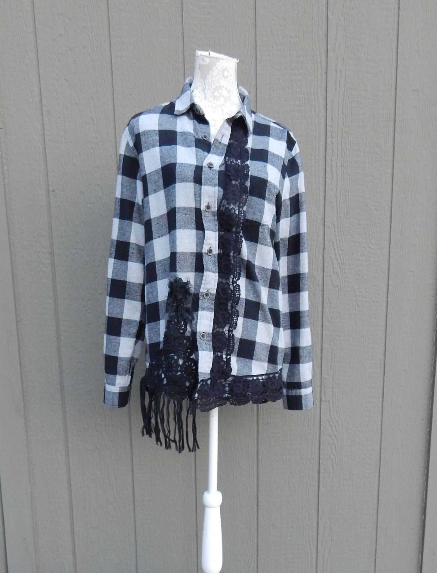 Flannel shirt black and grey  Altered Womenus Black and Gray Flannel Shirt Altered Couture