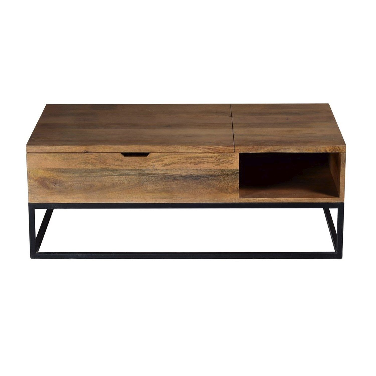 9220e256cea7f Suri Industrial Modern Coffee Table with Storage in Mango Wood   Metal  Detail