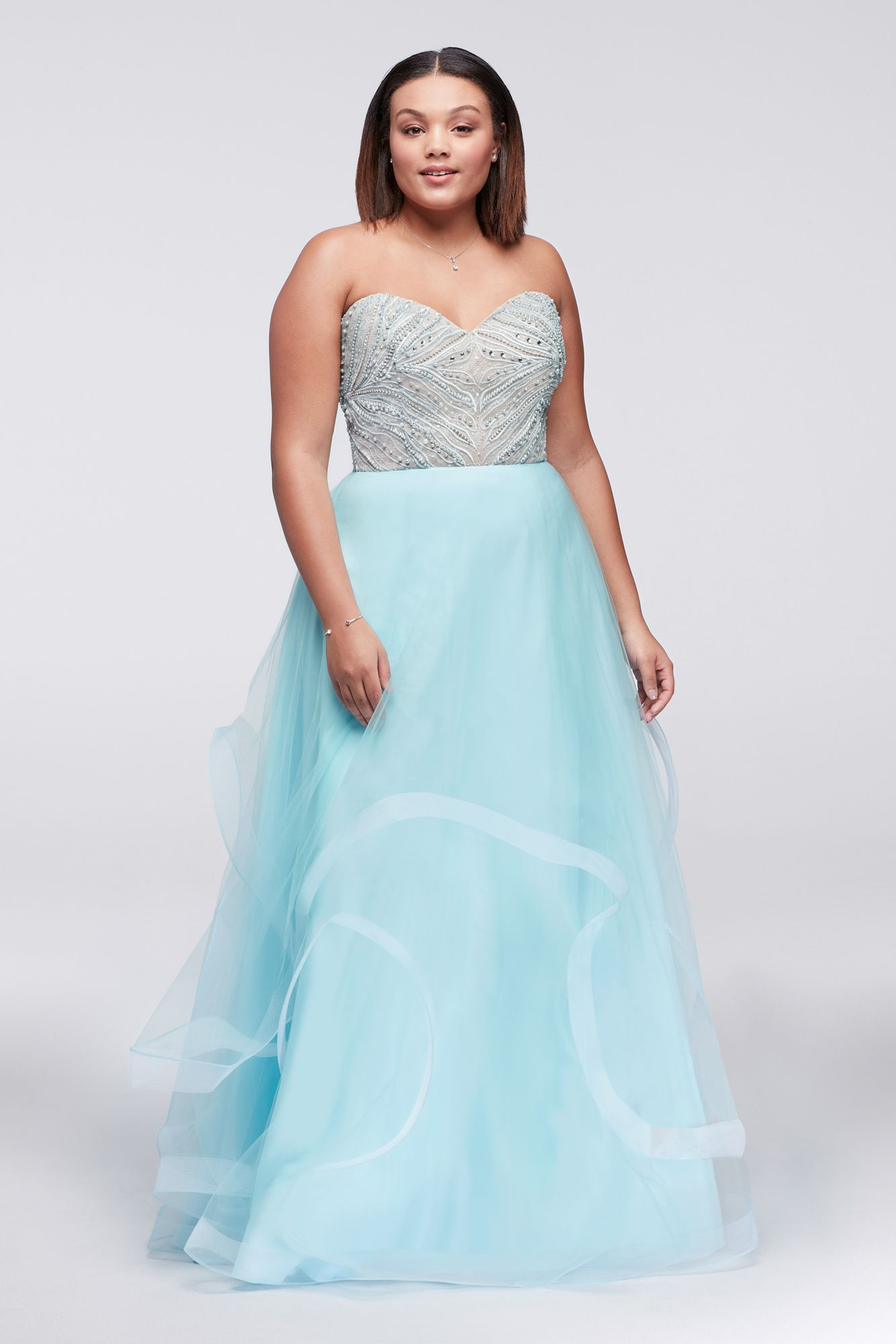e4f2300b085c0 Plus Size Strapless Beaded Bodice Prom Dress with Tiered Tulle Skirt Style  1711P2838W