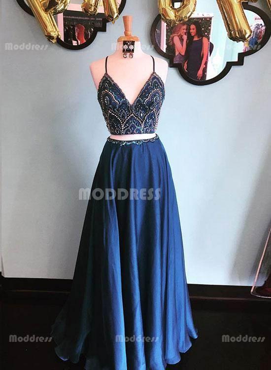 e96a118aa2 Blue 2 Pieces Beading Homecoming Dresses V-Neck Long Prom Dresses A-Line Formal  Dresses